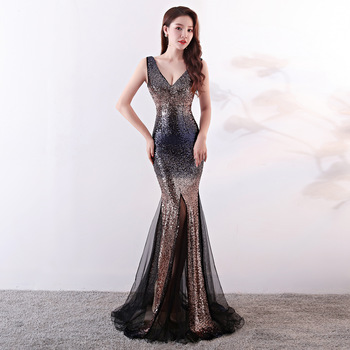 sleeveless Gradient  Evening Dress Sequins Mermaid evening Dresses  Elegant  Net yarn Party Long Evening  Gown  Formal Dress