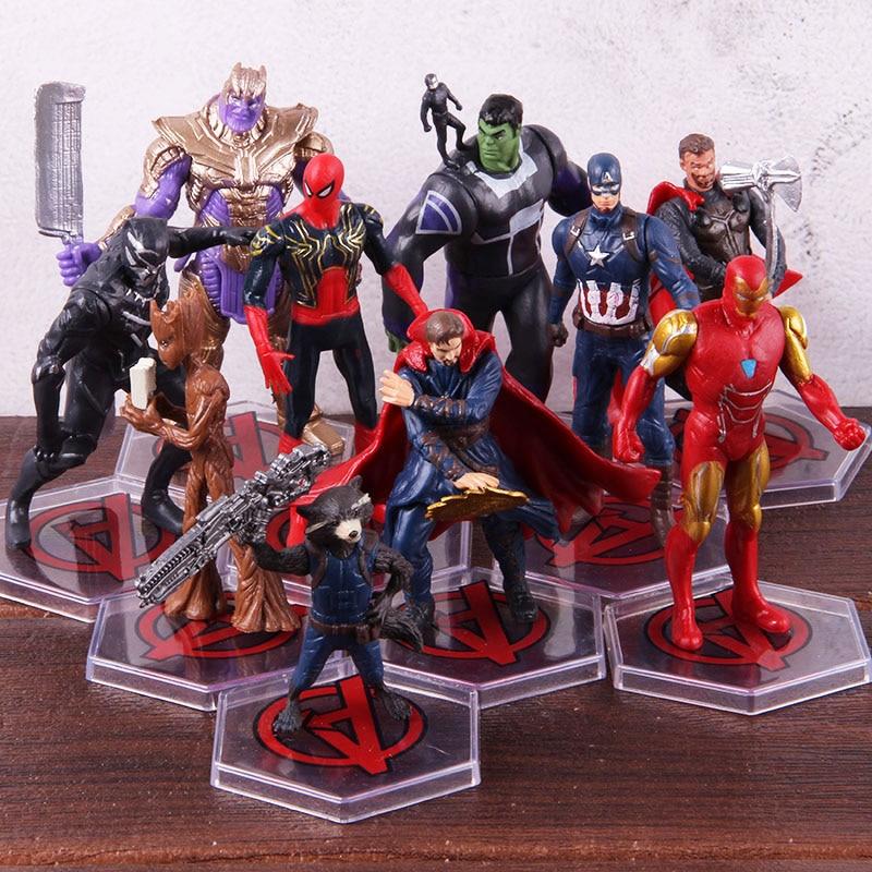 Avengers Endgame Thanos Doctor Strange Iron Man Thor Captian America Spiderman Tree Man Rocket PVC Action Figures Toys 10pcs/set 1