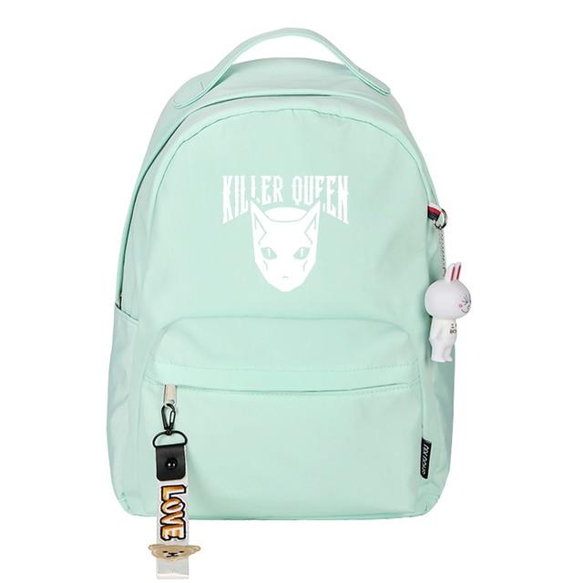 Jo Jo's Bizarre Adventure KILLER QUEEN Pink School Bags for Teenage Girls Nylon Bookbag Women Travel Backpack Anime Rugzak 4