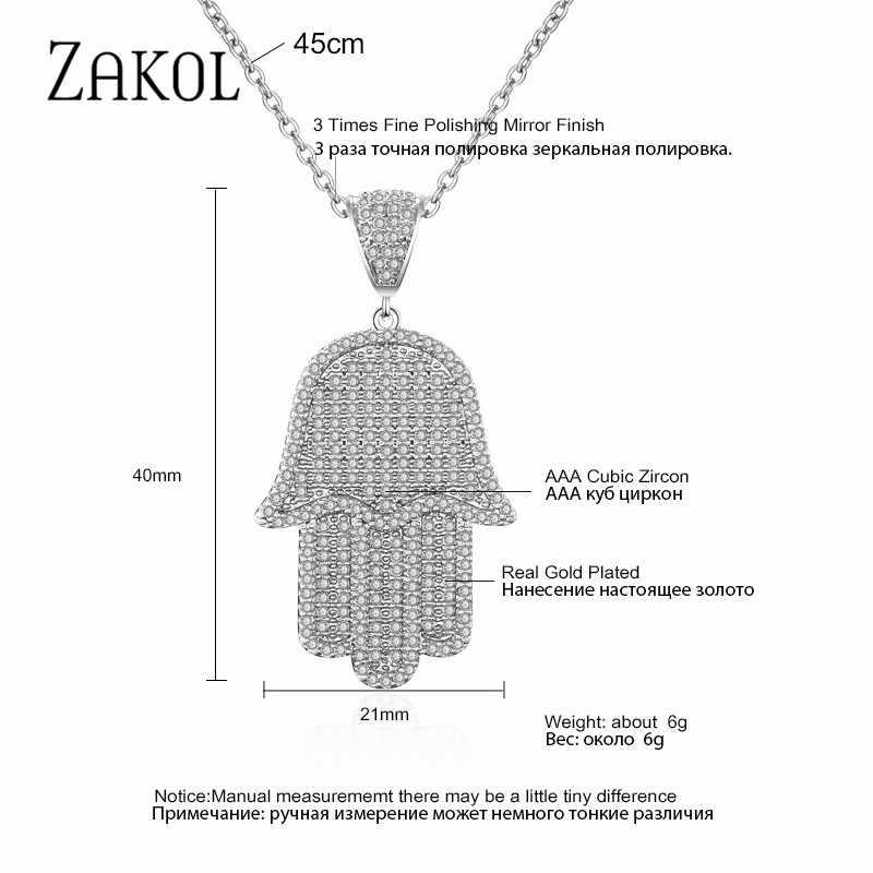 ZAKOL błyszczące mikro-wkładka cyrkonu Palm wisiorek podkreślający osobowość naszyjnik dla nowożeńców biżuteria kobiety kolacja Party urodziny prezent FSNP2036