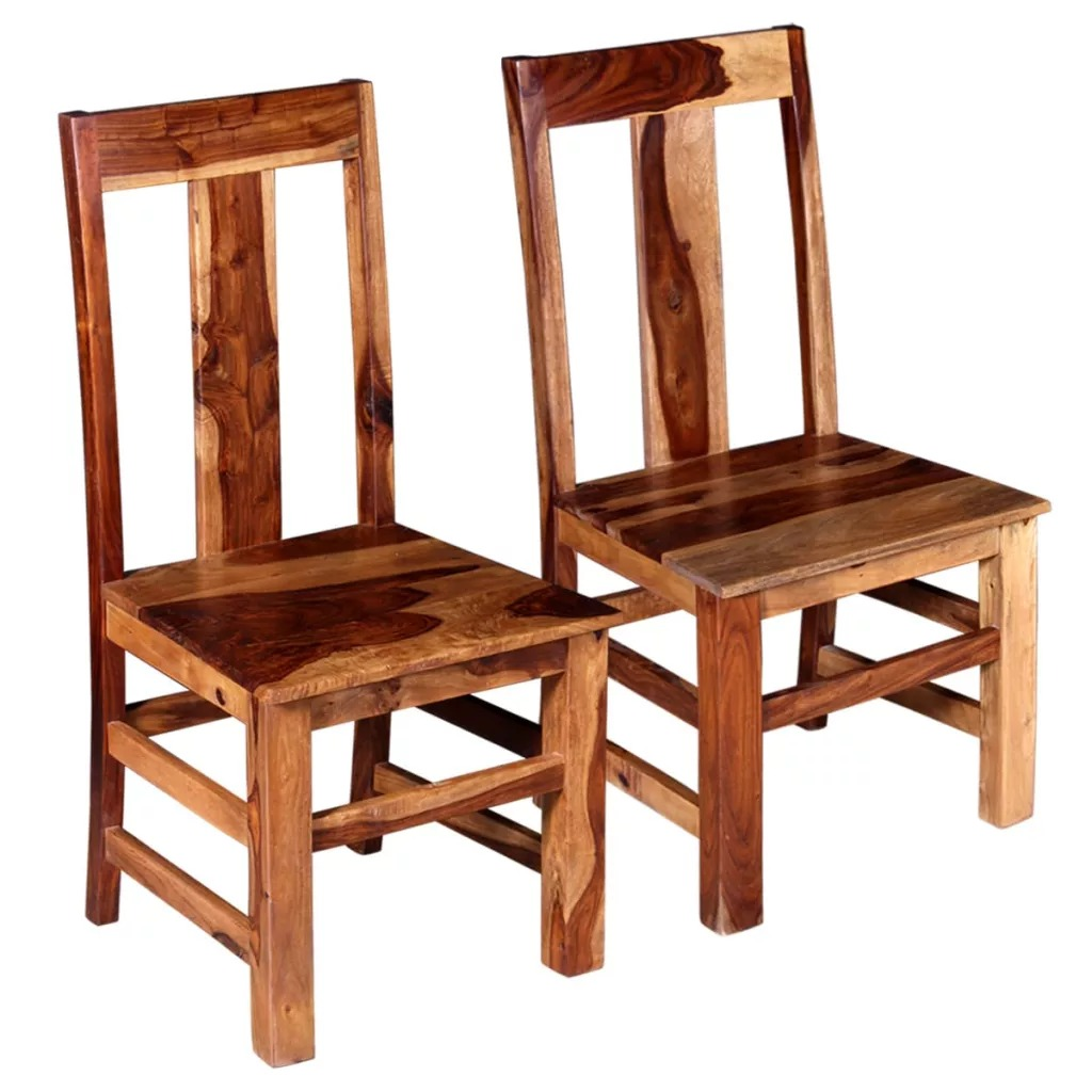 VidaXL 2 pièces Morden chaises de salle à manger Durable et robuste solide Sheesham bois matériel chaises de salle à manger avec dossiers hauts V3