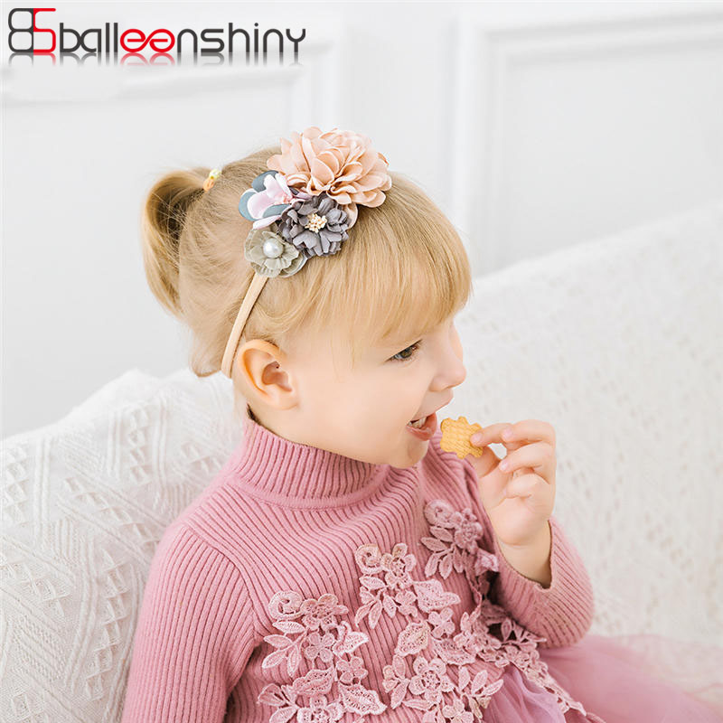 BalleenShiny Artificial Flower Baby Headband Newborn Baby Girls Hair Accessories Princess Sweet Headdress Cute Elastic Headwear
