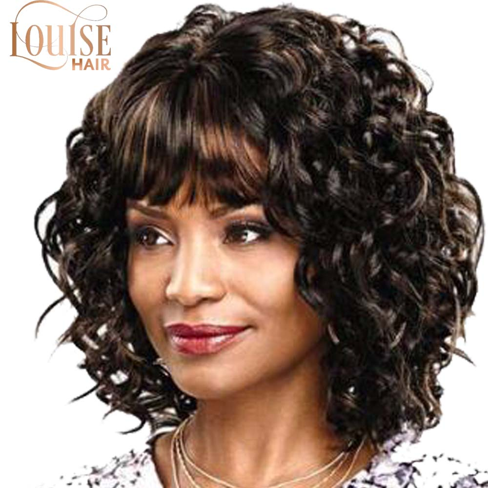 Louise Black  Brown Short Wigs Bob Style Straight Curly Synthetic Black Women's Wig With Bangs 12 Inches Soft Hair Wig