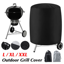 Black/Grey Durable Round Waterproof Anti Dust Outdoor BBQ Grill Cover Garden Patio Barbecue