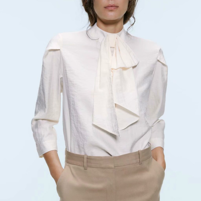 Women Stylish Bow Tie Collar Blouse Long Sleeve See Through Solid Shirts Office Wear Sweet Tops Blusas Chiffon  Women