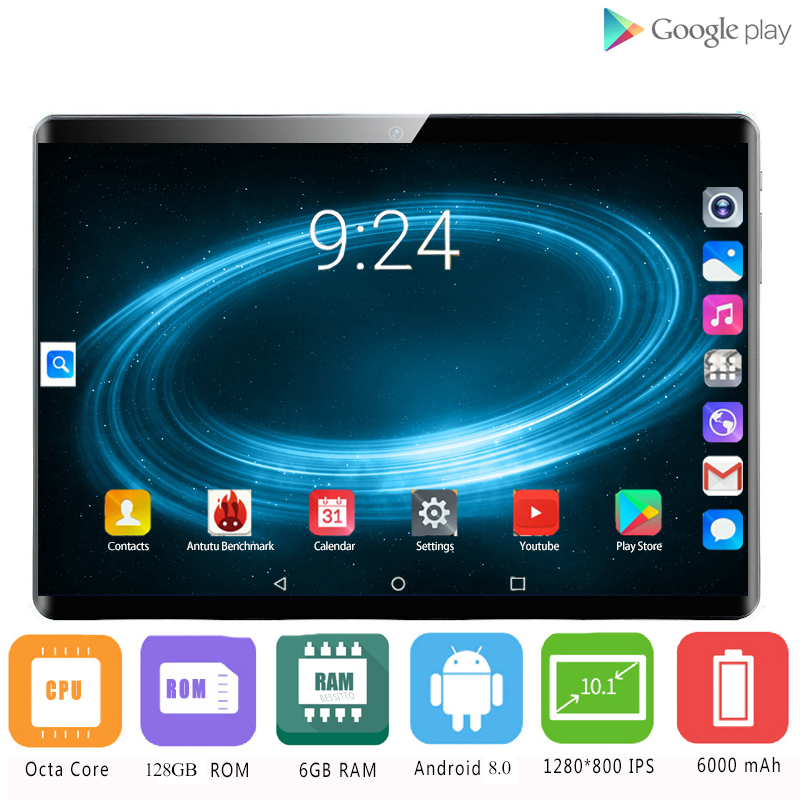 2020 New 2.5D Tempered Glass 4G LTE 10 Inch Tablet PC 8 Core 6GB RAM 128GB ROM Android 8.0 GPS Wifi Bluetooth Tablets 10 10.1