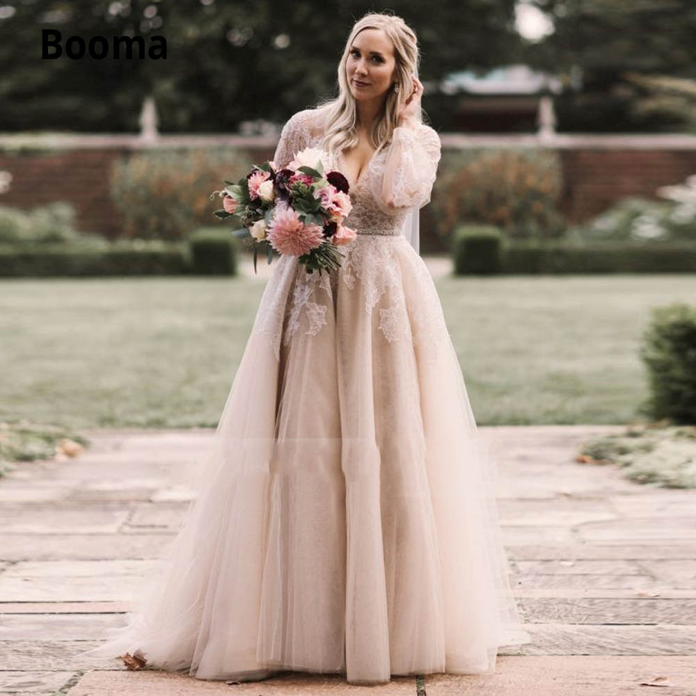 Booma Romantic Elegant Lace Appliques Tulle Bridal Gowns 2020 Long Sleeve Beach Boho Wedding Dresses V-neck Wedding Gown New