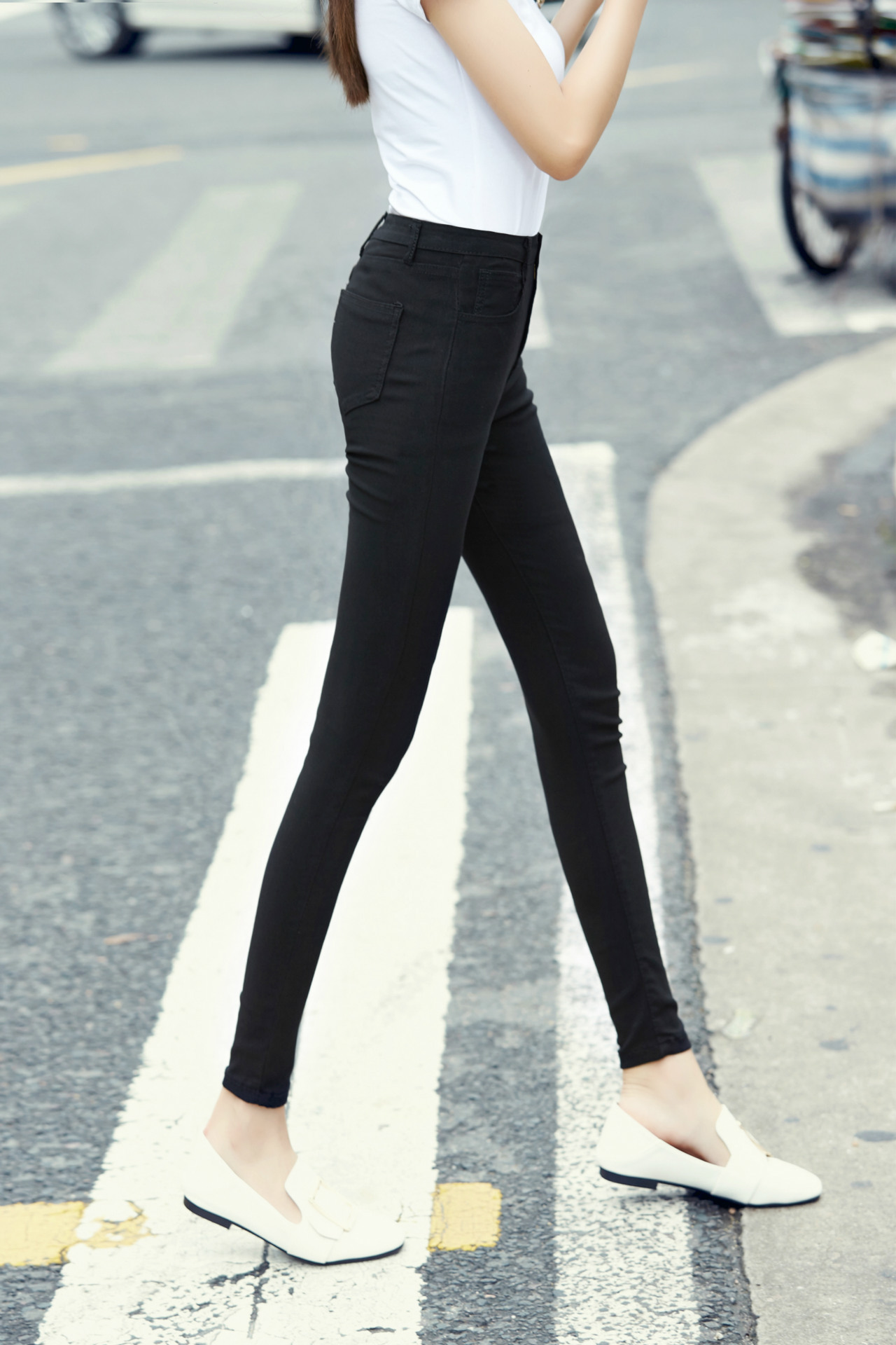 2019 Spring And Autumn Trousers Korean-style Women's Slim Fit Slimming Elasticity Black And White With Pattern Pencil Pants Skin