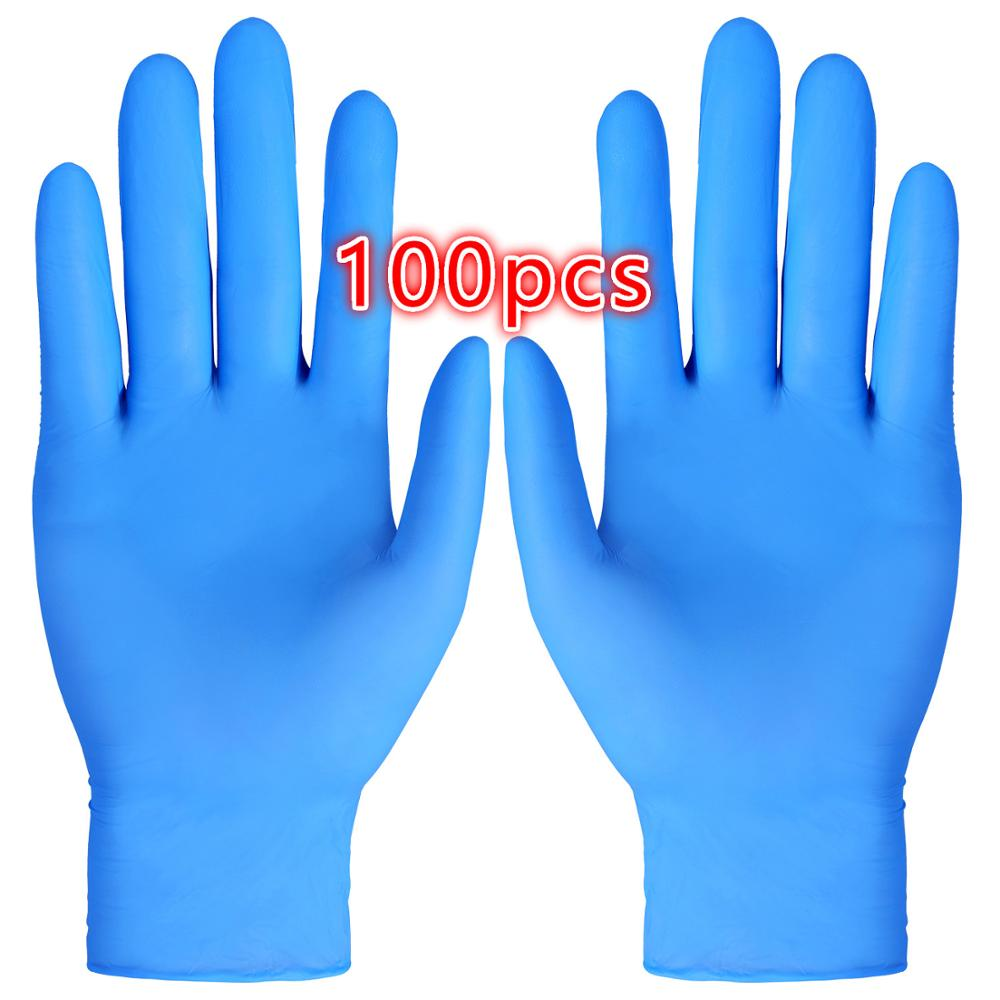 100pcs Disposable Nitrile Gloves PVC Gloves Wear-Resistant Durable Nitrile Rubber Latex Food Gloves Household Cleaning Gloves