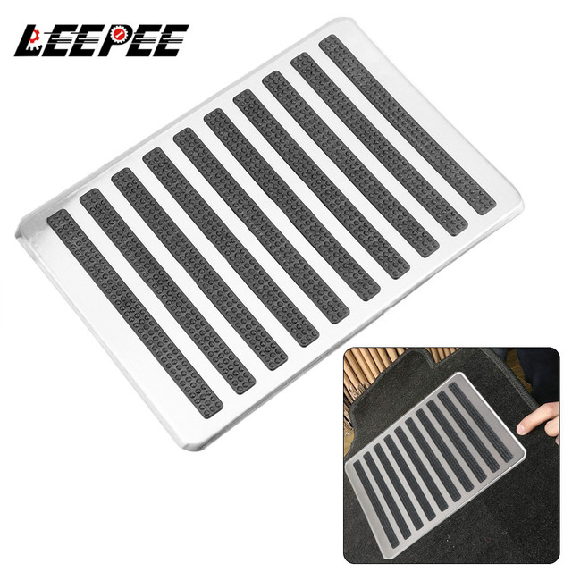 LEEPEE Auto Interior Floor Mat Patch Driver Car Side Floor Carpet Mats Stainless Steel Plate Carpet Foot Heel Pedal Replacements