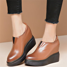 Casual Shoes Women Slip On Genuine Leather Wedges High Heel Ankle Boots Female Pointed Toe Platform Pumps Shoes Fashion Sneakers msstor buckle off white woman shoes 2018 spring strange style pointed toe women pumps genuine leather ankle boots for women 4cm