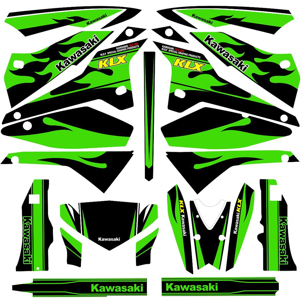 New Full Graphics Decals Stickers Custom Number Name 3M Matte Stickers Waterproof For Kawasaki D-TRACKER 2008-2018