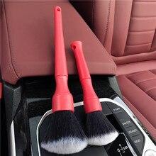 Lucullan 1 conjunto painel interior vermelho painel ar condicionado ferramentas de limpeza ultra macio portátil cabelo carro detalhando escovas