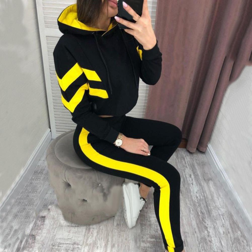 2019 2Pcs Casual Women Jogging Suit Striped Tracksuits Hoodies Pants Sportswear Set Nylon Polyester Spandex Women's  Tracksuit