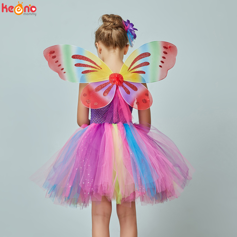 Girls Butterfly Fairy Fancy Tutu Dress Wings Costume Kids Princess Birthday Party Halloween Cosplay Kids Spring Tulle Dress 5
