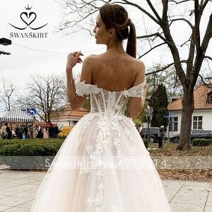 Image 4 - SWANSKIRT מתוקה 3D פרחי חתונה שמלת רומנטי אפליקציות אונליין אשליה נסיכת Vestido דה novia SA02 כלה שמלה