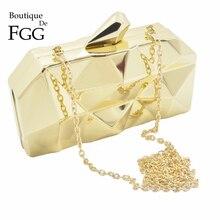 Boutique De FGG Hexagon Frauen Gold Abend Taschen Hard Fall Damen Metall Kupplungen Party Cocktail Geldbörsen und Handtaschen