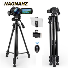 55inch Travel Tripod Camera Mobile Phones Stand Aluminum Portbale Tripode for iPhone Canon Sony Video Cameras with Phone holders