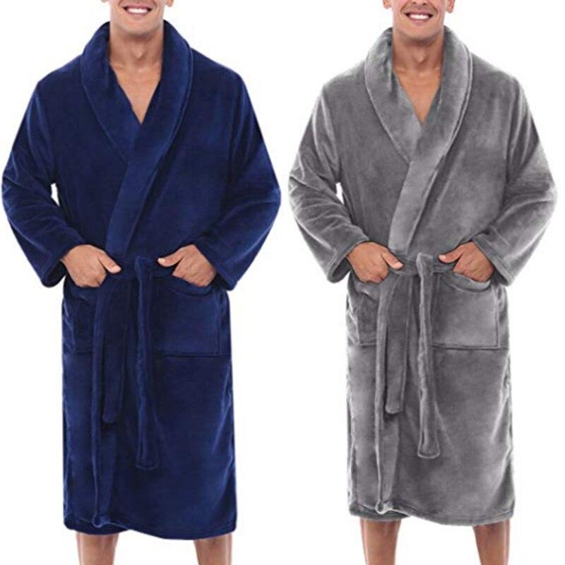 Mens Winter Warm Plush Lengthened Shawl Bathrobe Home Shower Clothes Long Robe Coat Hh88