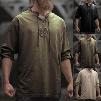 Men Plus Size Shirt Top Ancient Viking Embroidery Lace Up V Neck Long Sleeve For Mens Clothing