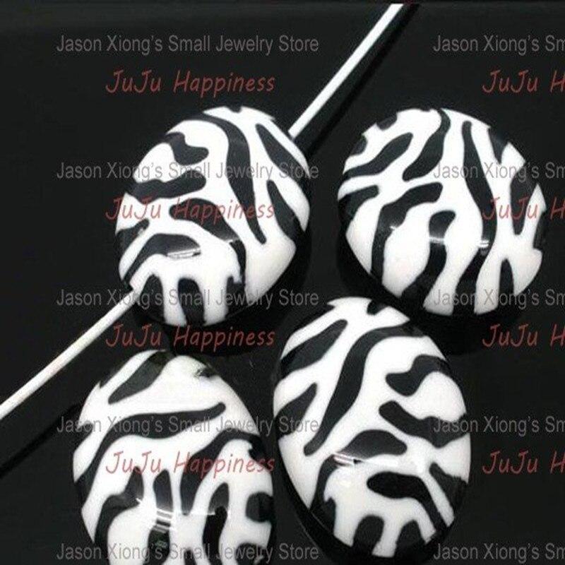 Moda oval zebra listrada solta diy contas de resina com furo médio 23*19mm 20 peças ab1034