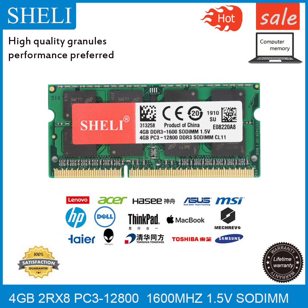 SHELI <font><b>4GB</b></font> PC3-12800/1600Mhz <font><b>DDR3L</b></font> CL11 204-PIN 1.5V RAM SODIMM Laptop Memory image
