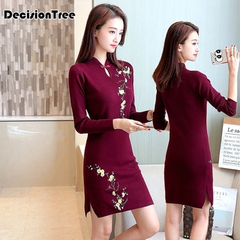 2020 traditional chinese dress qipao women mandarin collar chinese cheongsams qipao oriental dresses embroidery qipao cheongsam new red embroidery flower female modern cheongsam elegant mandarin collar chinese style dress cotton long sleeve qipao l xxl