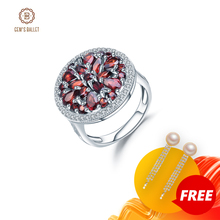 GEMS BALLET 3.88Ct Round Natural Red Garnet Gemstone Ring for Women 925 Sterling Silver Vintage Cocktail Rings Fine Jewelry