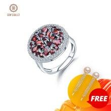 Женское кольцо с натуральным красным гранатом GEMS BALLET 3.88Ct, винтажное коктейльное кольцо из стерлингового серебра 925 пробы, ювелирные украшения