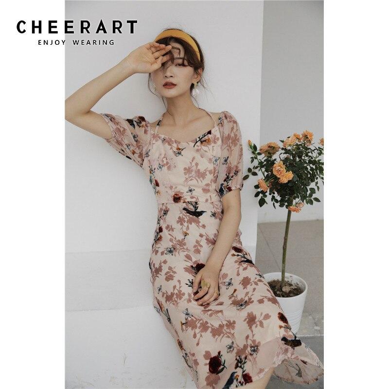 CHEERART Summer Long Midi Dress Women Rose Floral Flowy Nude Square Neck Puff Sleeve Classy Short Sleeve Ladies Dresses 2020