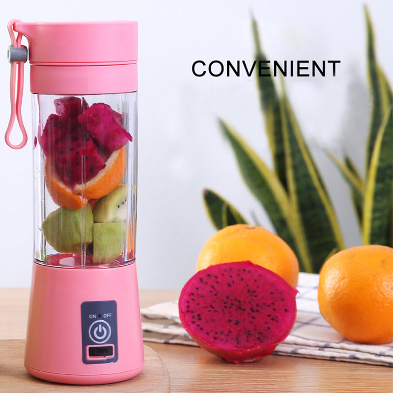 Fruit Mixe Juice Cup Blender Protein Shake Bar 6 Blade 400mL Vegetable Kitchen Tool USB Rechargeable Healthy Drinking Travel image