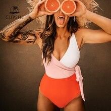 Cupshe Orange And White Colorblock One-piece Swimsuit Women Patchwork Belt Bow Monokini 2021 V-neck Beach Bathing Suit Swimwear
