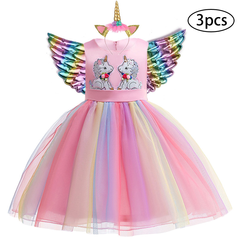 Ha677478695e94f71b874c22a1c86591bA New Girls Dress 3Pcs Kids Dresses For Girl Unicorn Party Dress Christmas Carnival Costume Child Princess Dress 3 5 6 8 9 10 Year