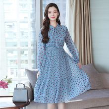 Chiffon Print Pleated Dress Korean Fashion Ruffle Bowtie Fresh Blue Long Sleeve Elegant Vintage All-match Midi Robe Femme
