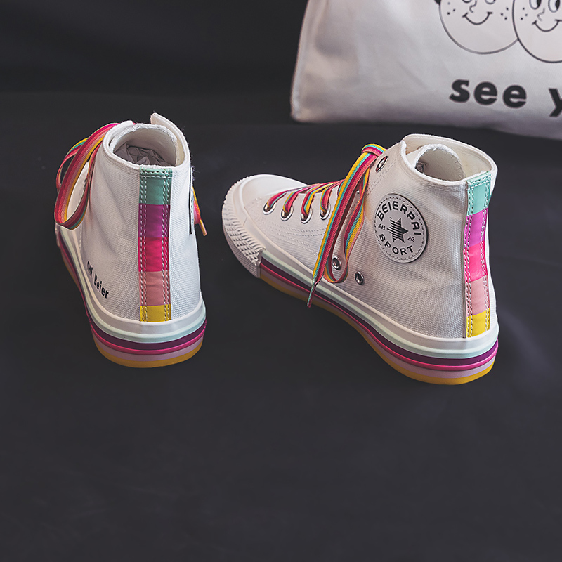 Girls Rainbow Shoes Colorful Shoelace 2019 Autumn Summer New Women Fashion Sneakers High Up Nice Quality Female Canvas Shoes