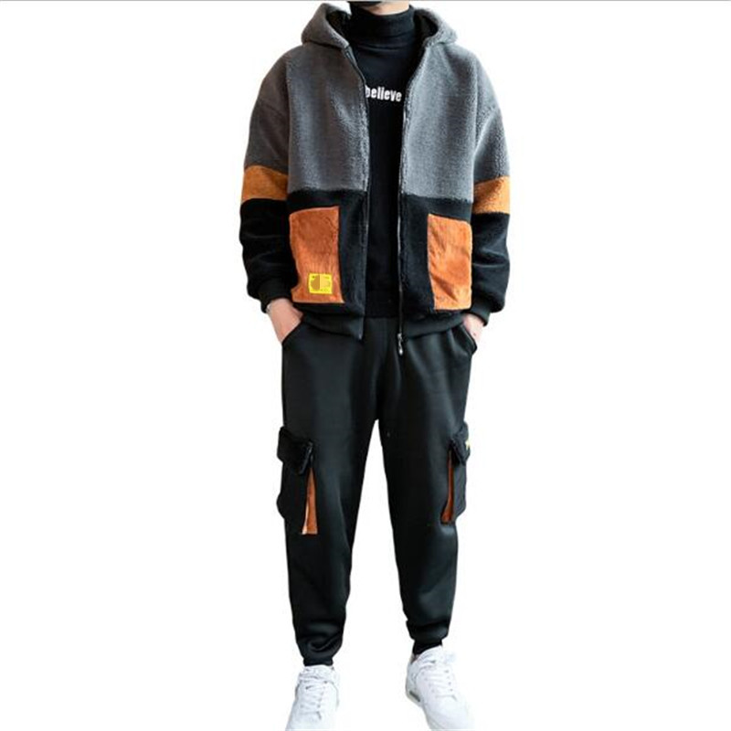 2020 Hoodie Suit Men's Winter Brushed Thick Hooded Jacket+Pants 2PC Sets Cardigan Hoodie Sports Casual Coat Autumn Sports Set