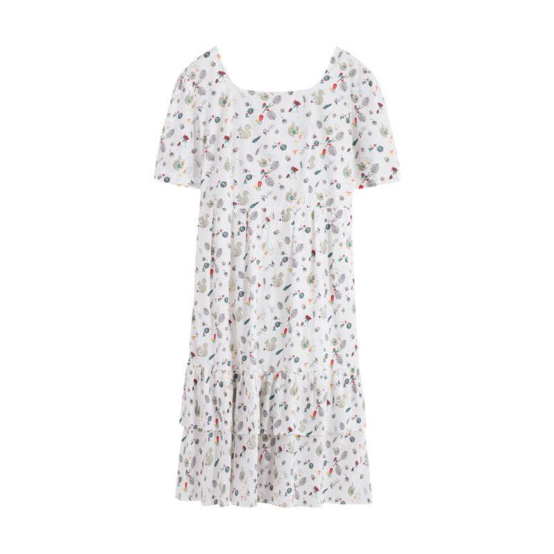 INMAN 2020 새로운 도착 높은 허리 Fishtail 인쇄 순수하고 신선한 짧은 소매 드레스
