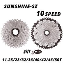 SUNSHINE 10 speed Cassette 10S 10V MTB bike Road Bicycle Freewheel Flywheel 10S 25/28/32/36/40/42/46/50T for deore m6000 SRAM
