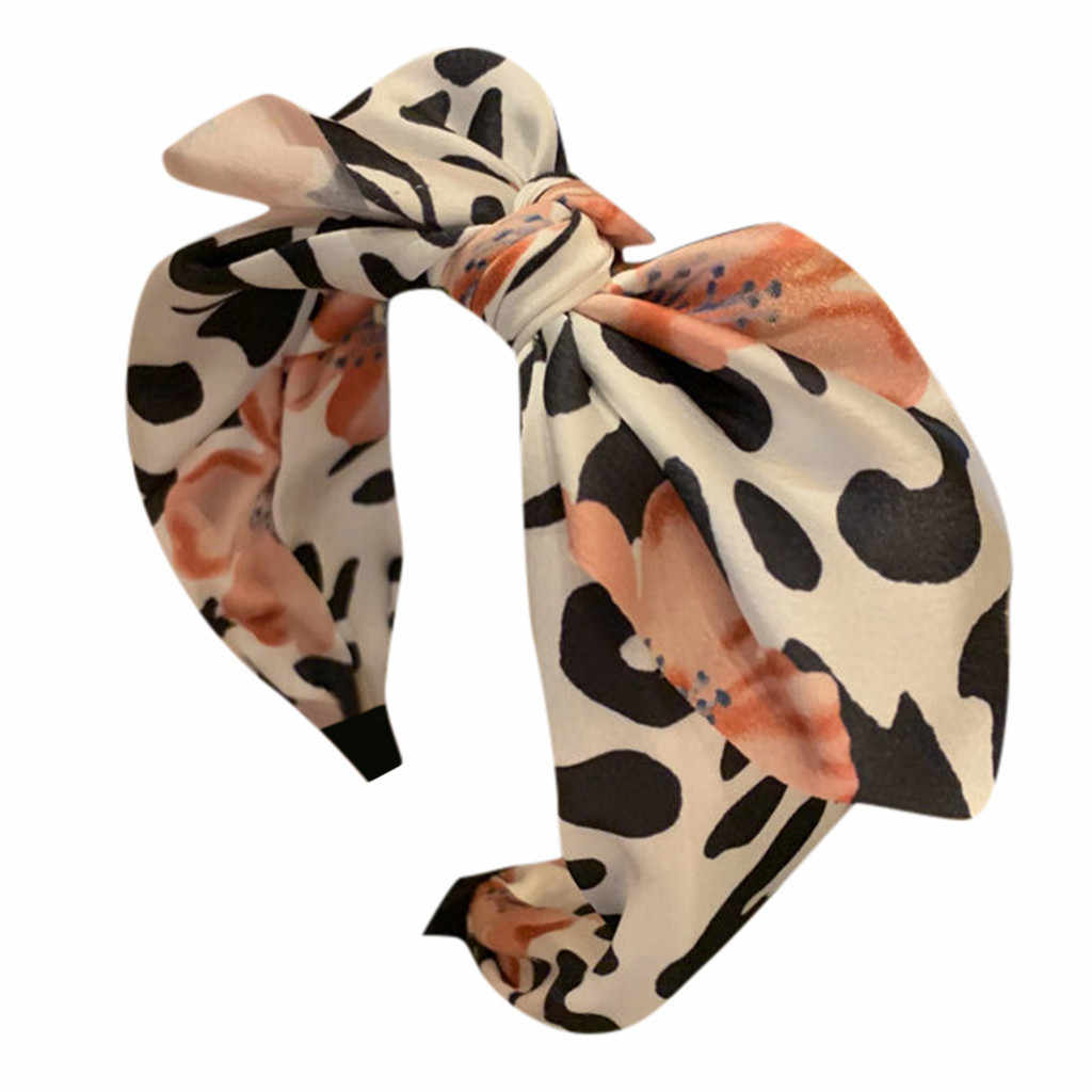 Women's Hair Accessories Leopard printing Female Cross Bow knot Bandwidth Side Headdress Fashion Sweet Girl Hair Ornament