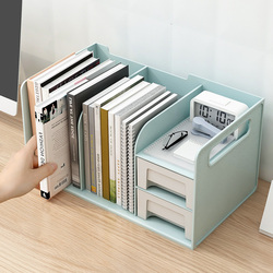 PP Plastic Book Holder Bookends with Two Drawers Students Desk Magazine File Holder Organizer Office Book Support Stand Rack