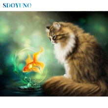 SDOYUNO Full square/round Cat and Fish 5d DIY Diamond Painting Mosaic Rhinestone Pictures Cross Stitch Diamond embroidery sdoyuno full square round landscape 5d diy diamond painting rhinestone pictures mosaic cross stitch diamond embroidery