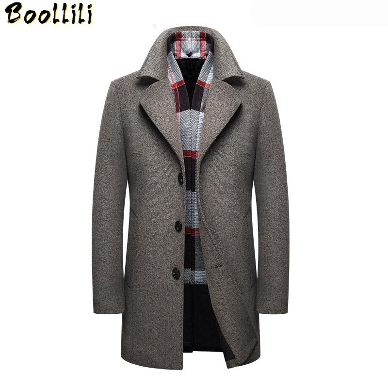 YUNY Men Woolen Classic Plaid Outwear Jacket Lapel Button Long Trench Coat Grey S