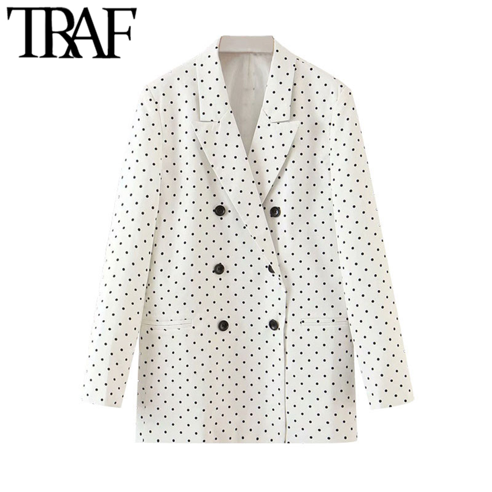 TRAF Women Fashion Polka Dot Double Breasted Blazers Coat Vintage Long Sleeve Office Wear Female Outerwear Chic Tops