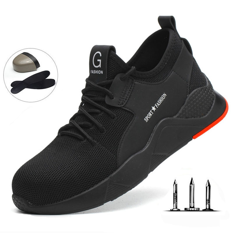 Steel Toe Work Shoes Lightweight Breathable Men Safety Shoes For Men Anti-smashing Construction Sneaker With Reflective 36-47