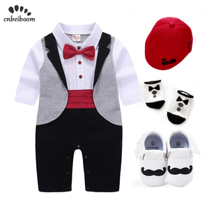 New born Baby Tuxedo sets rompers clothing set for boys weeding birthday formal party clothes dress cotton long sleeve costume(China)