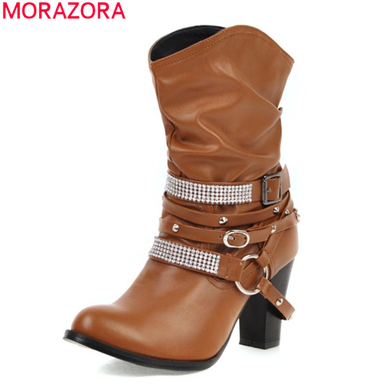 MORAZORA 2020 new fashion pu leather mid calf boots thick high heels round toe buckle ladies shoes winter women boots