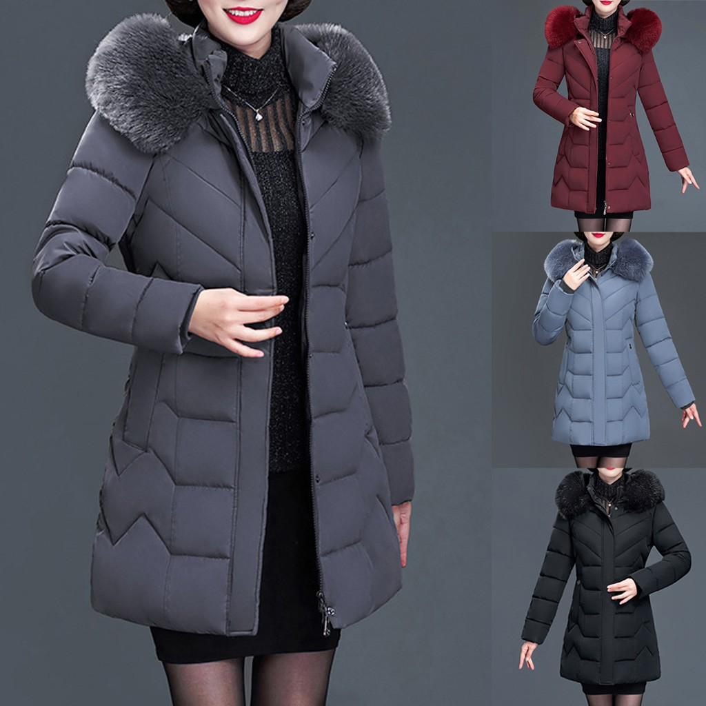 Plus Size Women Down Coat Winter Middle-aged Fur Collar Hooded Winter Coat Women Long Thick Jacket Coat Outwear Chaqueta Mujer