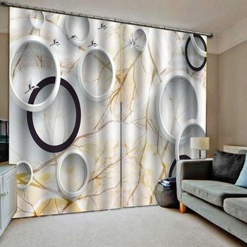 Custom Photo marble circle Blackout Curtains Drapes for Living room bedroom home Drapes Decor