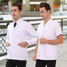 White coat short style half sleeve male and female doctors wear white thin style summer long sleeve student doctor uniform