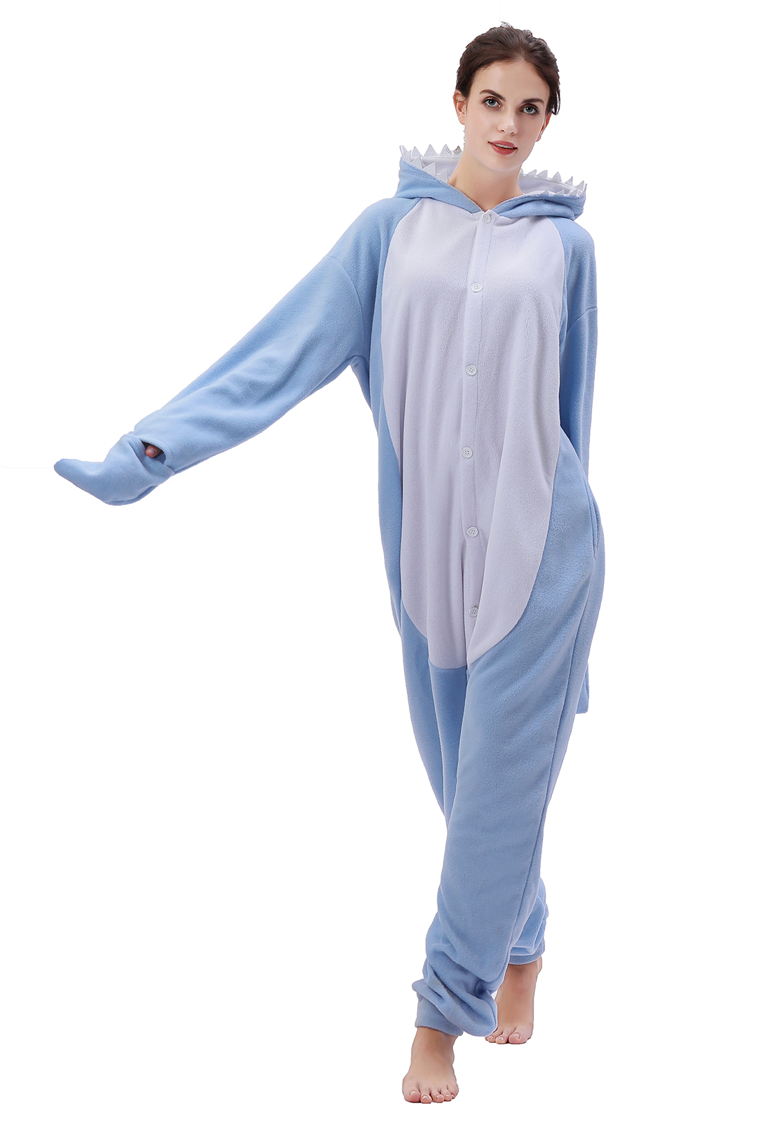 New Animal Kgurumi Onesie Pajamas Blue Shark Cartoon Onesie Sleepwear Adult Cosplay Costumes For Adult And Teenagers